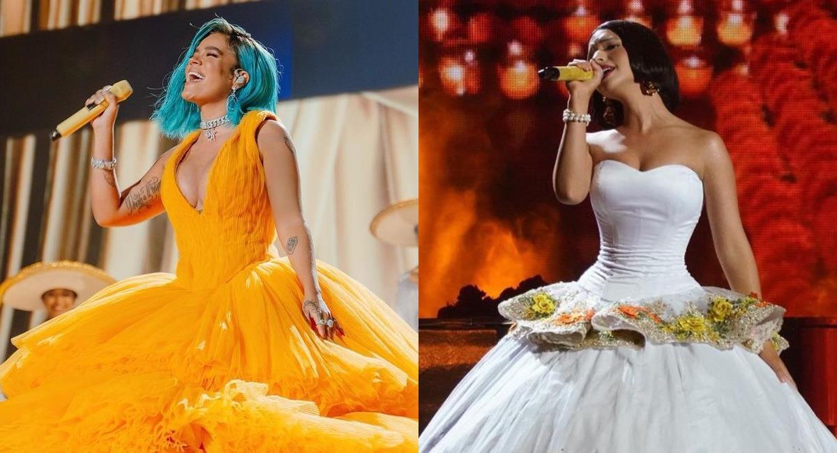 La mexicana reprochó un acto de la presentación de la colombiana. Foto: Instagram @karolg/@angela_aguilar_.