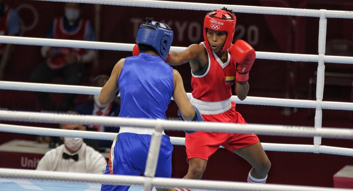 Victoria de Ingrit Valencia en boxeo. Foto: Twitter Prensa redes Comité Olímpico Colombiano.