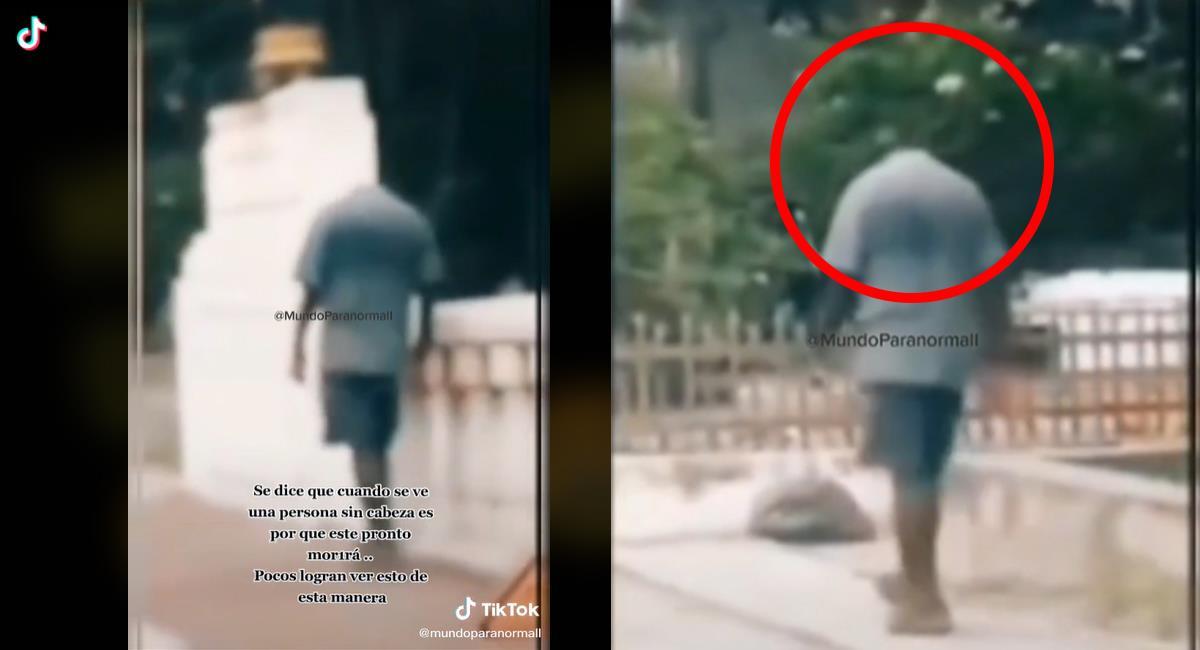 El hombre sin cabeza, es un video que circula en TikTok pero no fue confirmada la veracidad. Foto: TikTok
