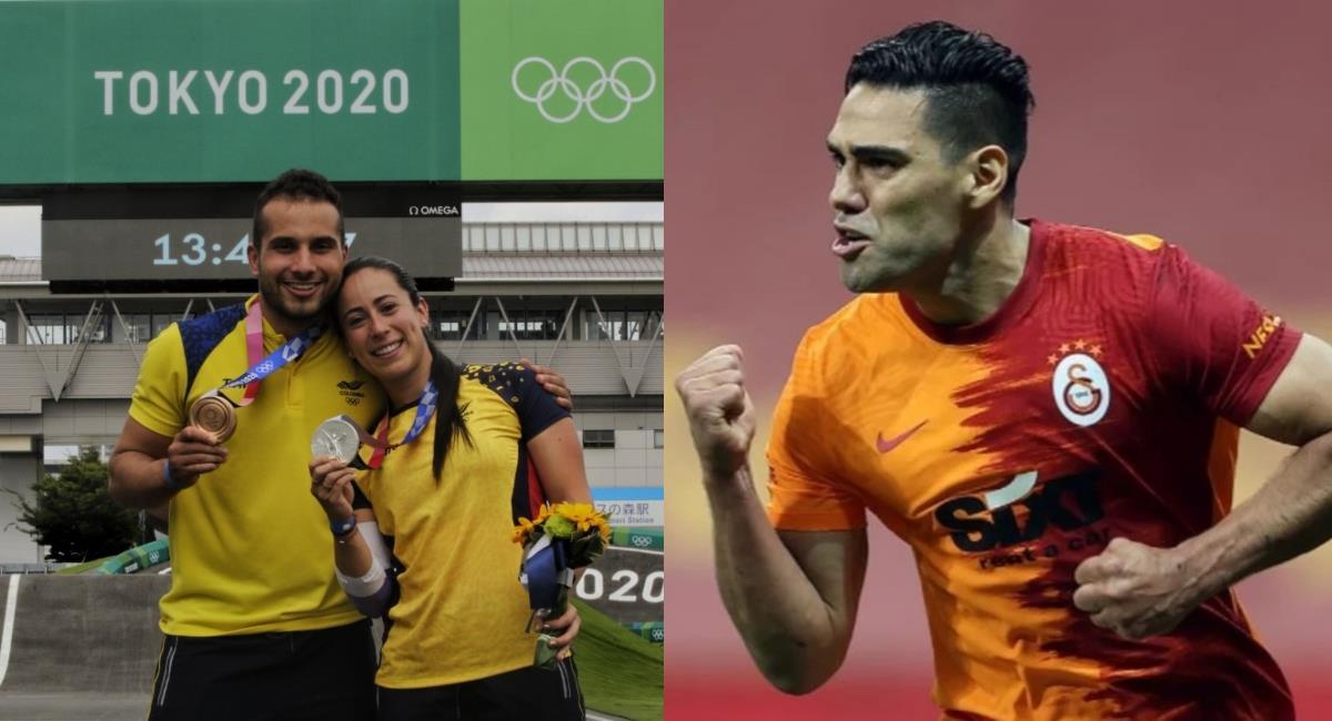 Mariana Pajón, Carlos Ramírez y Falcao García. Foto: Twitter COC / GalatasaraySK