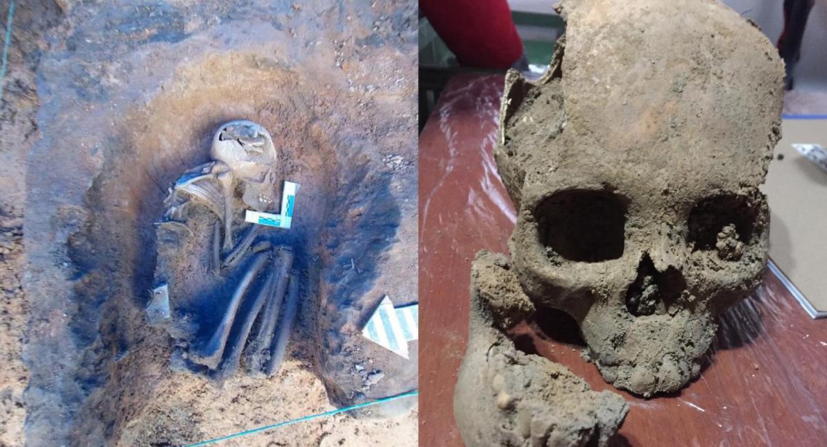Varios cuerpos, calaveras y fragmentos de huesos fueron encontrados en obras de Transmilenio en Usme. Foto: Twitter @idubogota