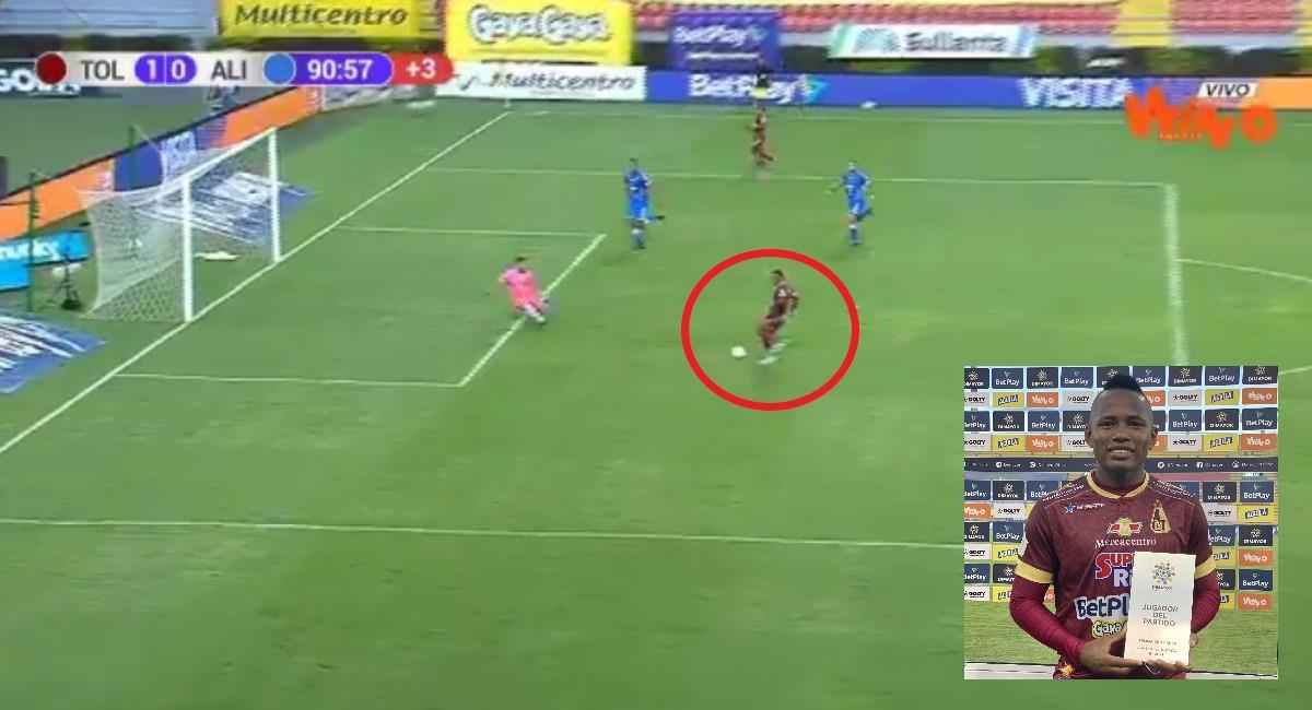 Insólito gol falló Campaz con el Tolima. Foto: Twitter Captura pantalla Win Sports.