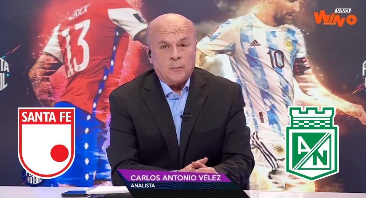 Llueven críticas a Carlos Antonio Vélez. Foto: Twitter Captura pantalla Win Sports.