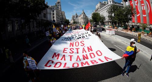 Colombianos protestan en Madrid contra la próxima visita de Iván Duque
