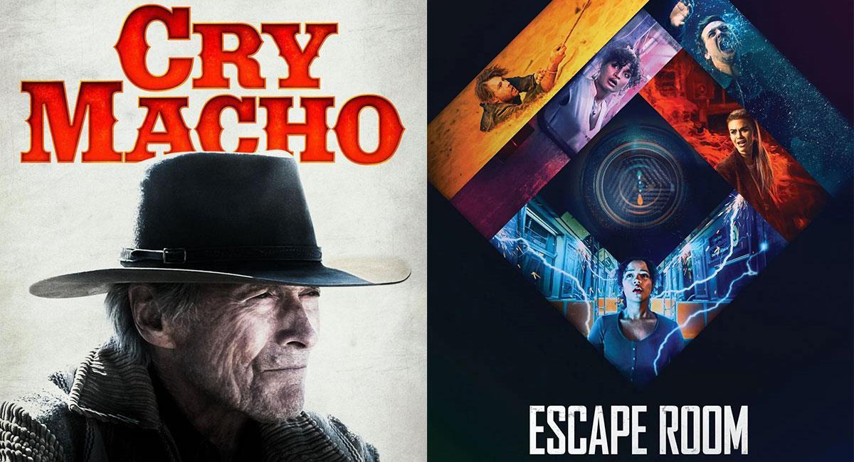 """""""Cry Macho"""" y """"Escape Room 2"""" llegan este fin de semana a la cartelera de cine de Colombia. Foto: Twitter @CryMachoFilm y @escaperoommovie"""