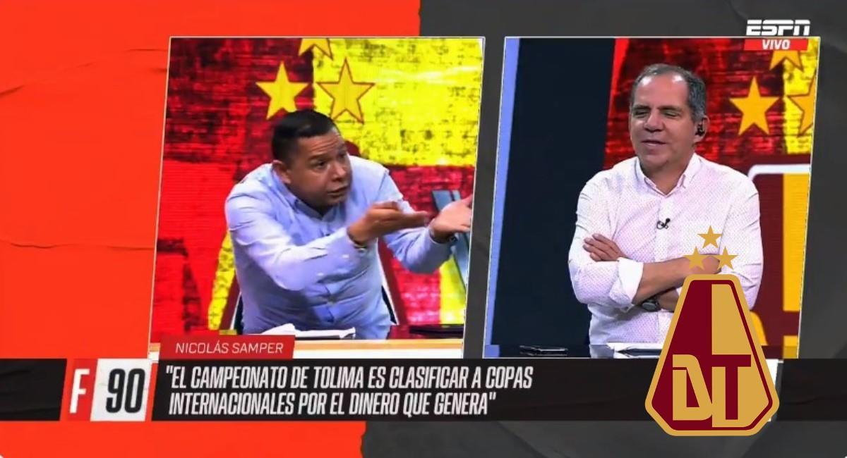 Valenciano llamó mediocre al Tolima. Foto: Twitter captura pantalla ESPN.