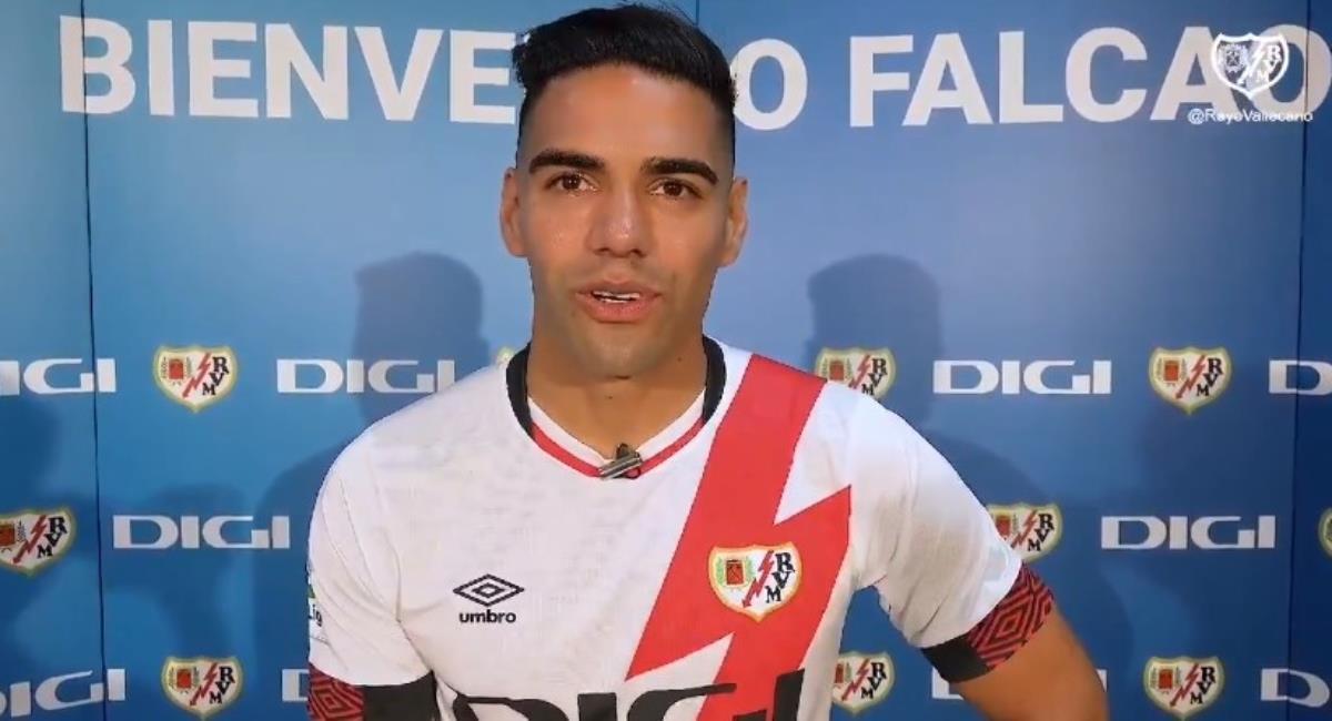 Falcao y su posible debut ante el Getafe. Foto: Twitter Prensa redes Rayo Vallecano.