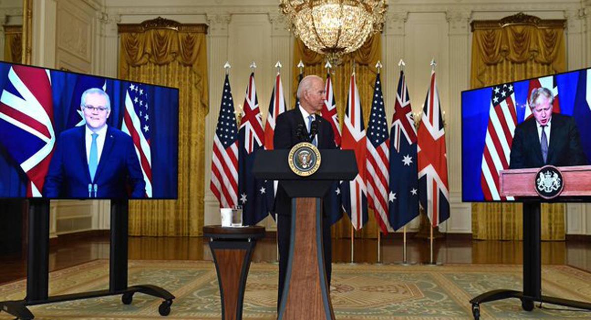 Joe Biden, Boris Johnson y Scott Morrison acordaron una alianza militar muy poderosa en el Pacífico. Foto: Twitter @OliverStuenkel