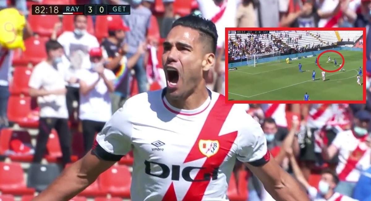 Gol de Falcao en su debut con el Rayo Vallecano. Foto: Twitter captura pantalla ESPN.