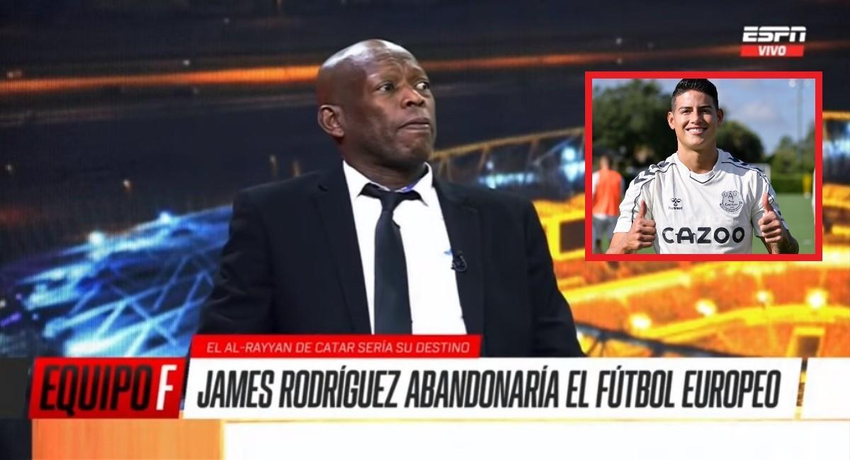 Asprilla salió en defensa de James. Foto: Youtube captura pantalla ESPN.