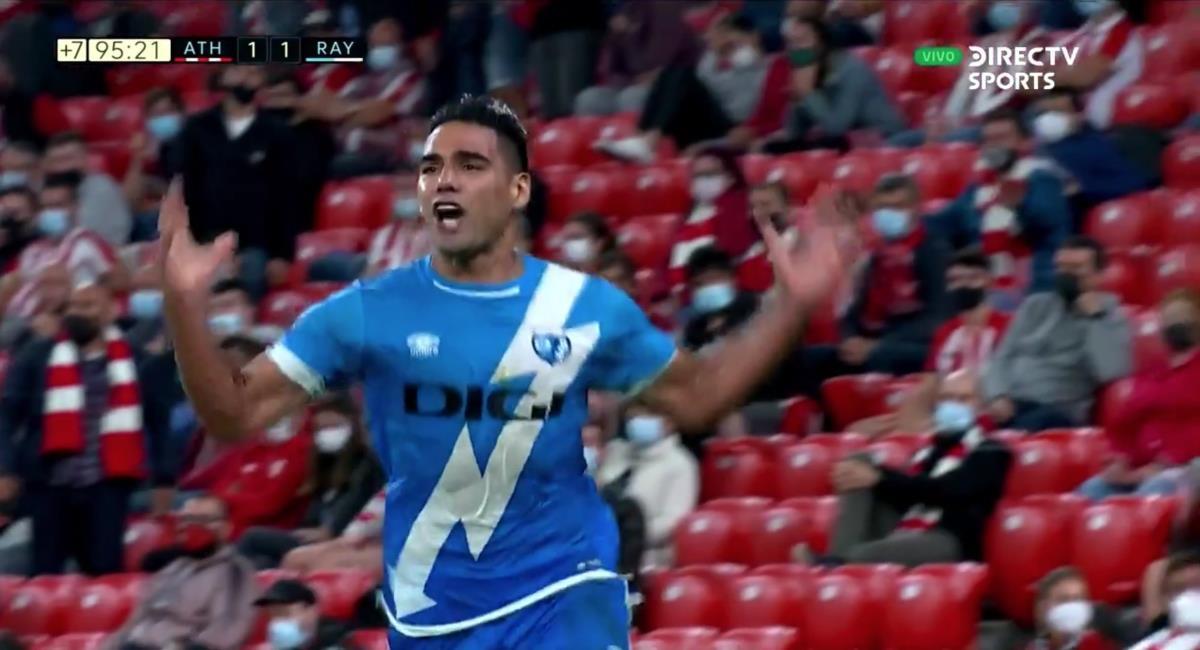 Falcao vuelve y marca con el Rayo Vallecano. Foto: Twitter captura pantalla DirecTV Sports.