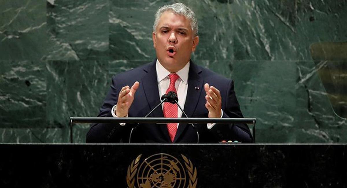 Iván Duque Márquez hizo su última intervención en una Asamblea General de la ONU. Foto: Twitter @Bravo19703