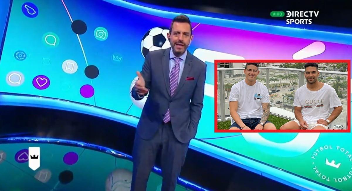 Pablo Giralt criticó fuertemente a James y elogió a Falcao. Foto: Twitter captura pantalla DirecTV Sports.