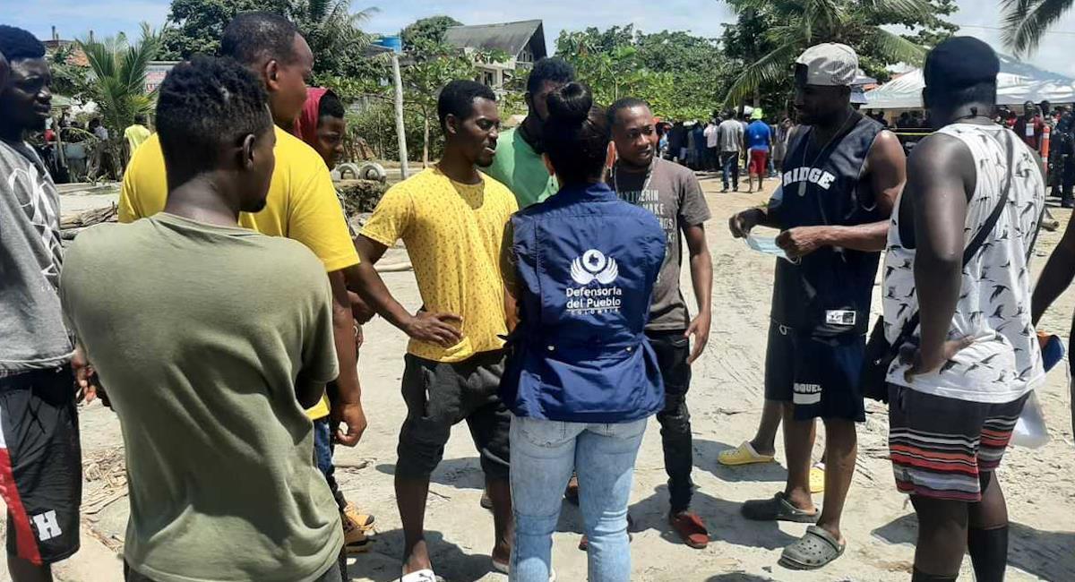 Defensoría del Pueblo dice que hay cerca de 19 mil migrantes haitianos en Necoclí. Foto: Defensoría del Pueblo