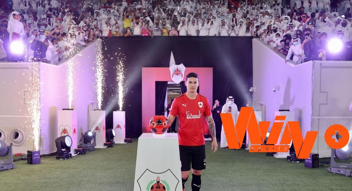 Win Sports transmitiría los partidos de James. Foto: Twitter Prensa redes Al Rayyan.