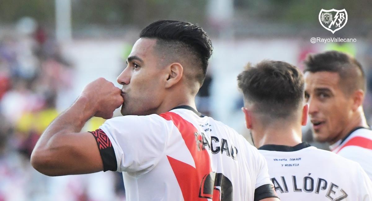 Falcao anotó con el Rayo para la victoria sobre el Cádiz. Foto: Twitter @RayoVallecano