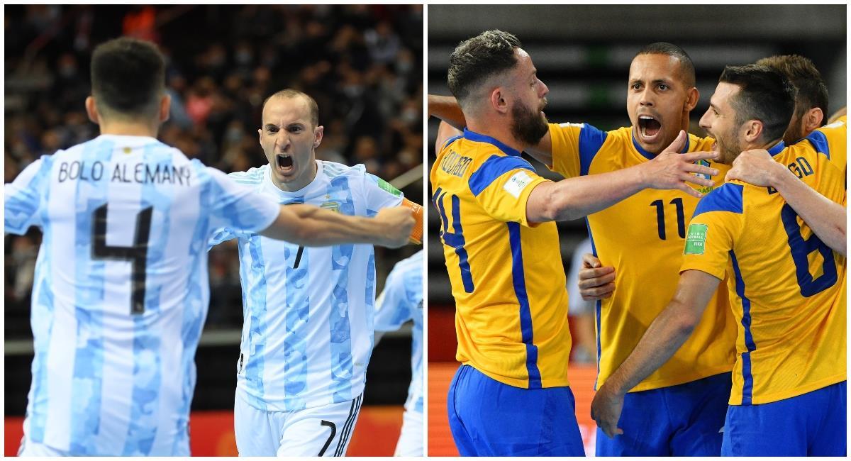 Argentina y Brasil se verán las caras en las semifinales del mundial de Futsal. Foto: Twitter @FIFAcom