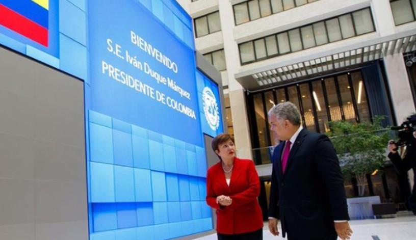 Iván Duque con la directora del International Monetary Fund, Kristalina Gueorguiev. Foto: Instagram @ivanduquemarquez.